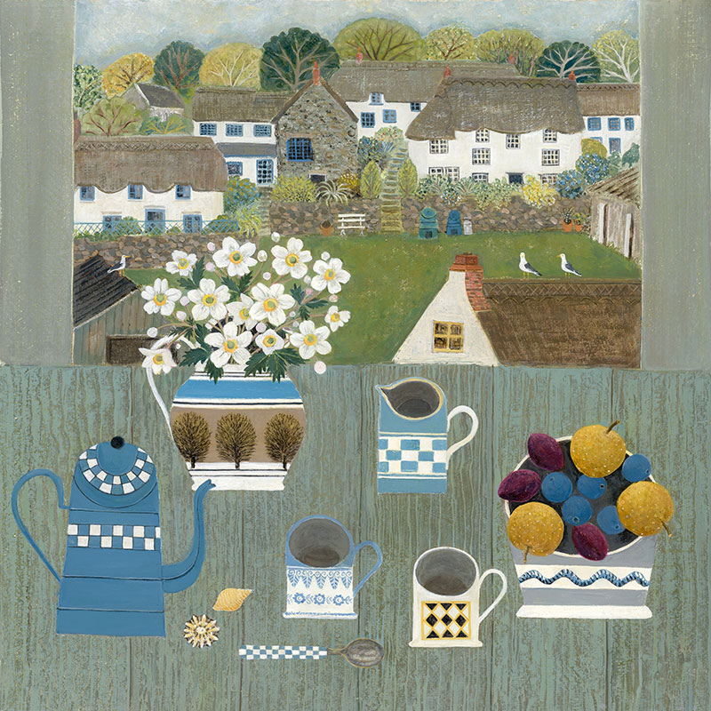 Cornish Cottages - Painting by Janet Coleman