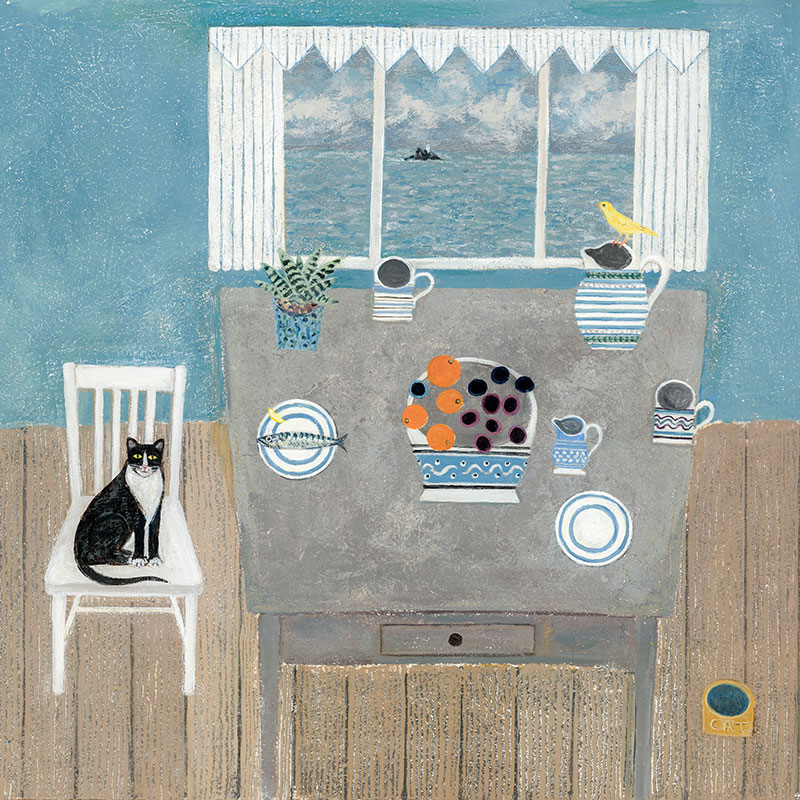 Fish Supper - Painting by Janet Coleman
