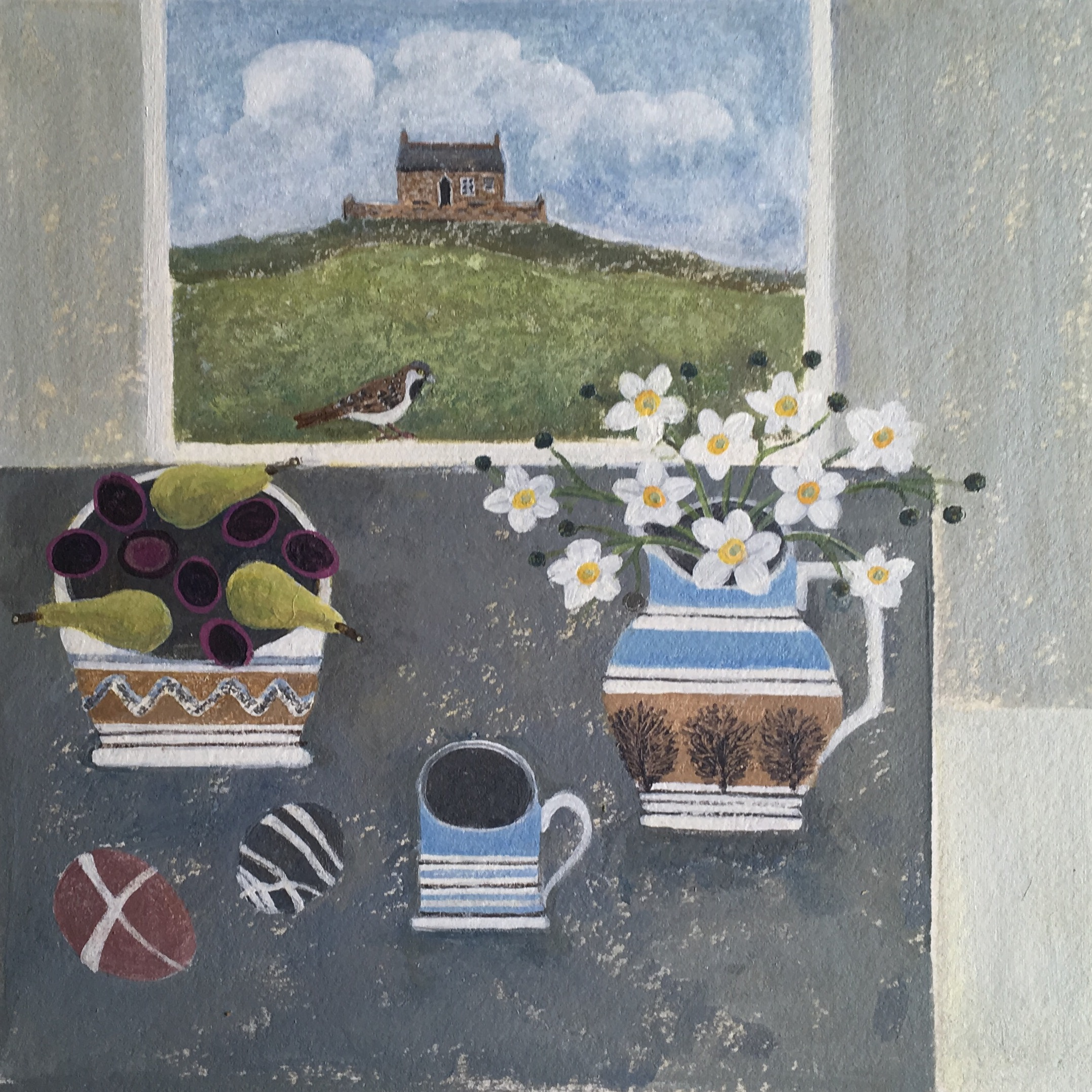 St Ives Sparrow painting by Janet Coleman